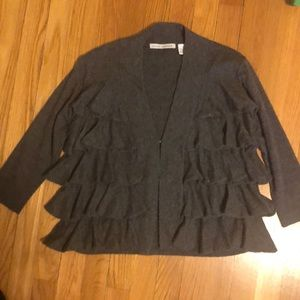 Autumn Cashmere charcoal grey ruffled cardigan.  M